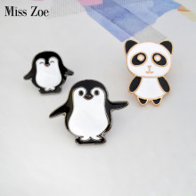 Cartoon animal Pin Panda Mama and baby penguin Brooch Button Pins Denim Jacket Pin Badge Childlike Gift Jewelry for Kids(China)