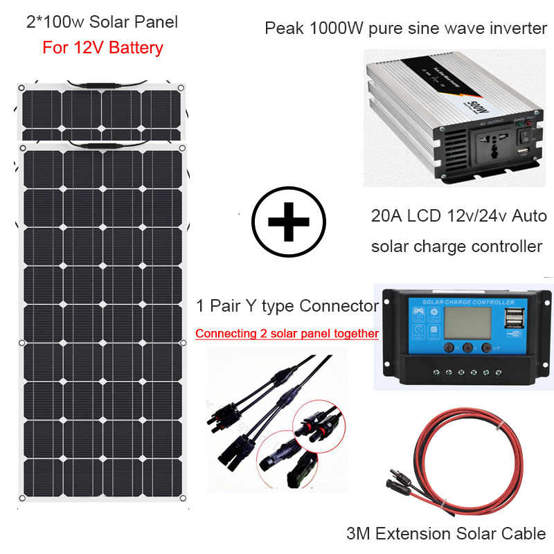1000W solar energy whole solar system 2*100w flexible solar panel power home kit solar 110V/220V with inverter and controller