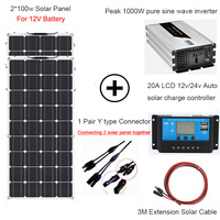 1000W solar energy whole solar system 2*100w flexible solar panel power home kit solar 110V/220V with inverter and controller