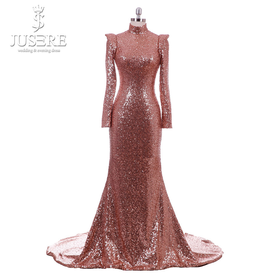 High Neck Open Low Back Long Cap Sleeves Empire Sexy Shape Court Train Occasion Formal Lady Golden Long Evening Dress 2018