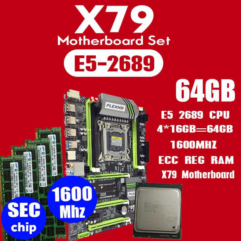 PLEXHD X79 توربو اللوحة LGA2011 ATX المجموعات E5 2689 CPU 4 قطعة x 16 GB = 64 GB DDR3 RAM 1600 Mhz PC3 12800R PCI-E NVME M.2 SSD