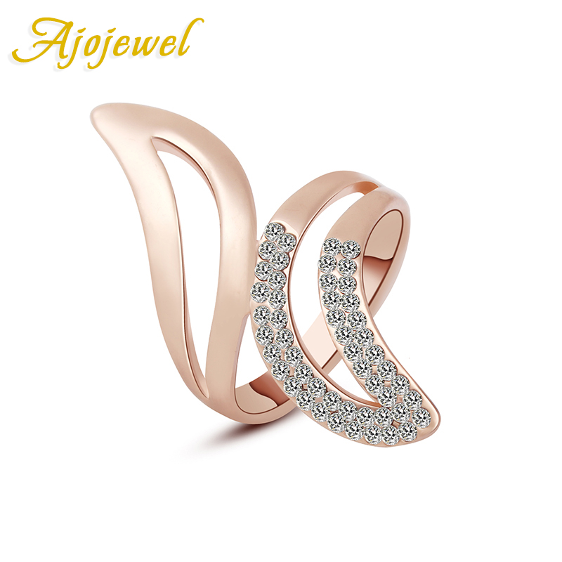 Ajojewel # 7-9 New Trendy Engagement Smycken Rose Gold Color AAA Österrikisk Crystal Wing Finger Ring För Kvinnor