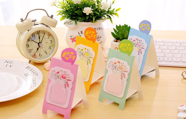 Lovely Blooming Bottle Self-Adhesive Memo pad sticky notes flowers Paper Sticker Post It Notepad Gift Escolar Papelaria