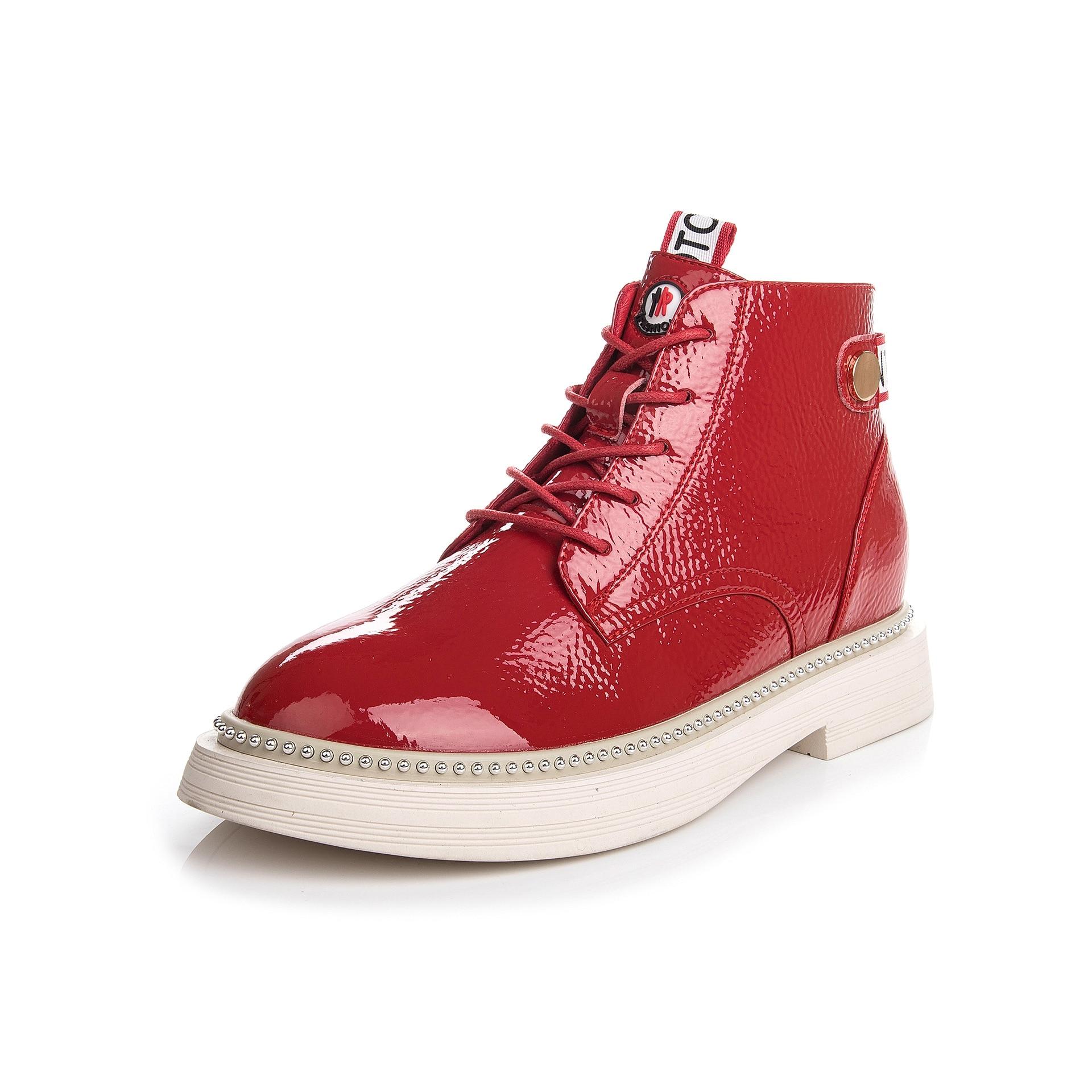 Cheville Bottes rouge À Bout Loisirs attaché Plate Chaussures Lacets Martin Rond Moto Punk blanc Femmes Bas Sabot De Mode Talons Noir Solide forme Croix PkuXiZ
