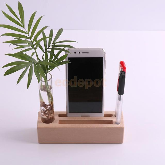 Wooden desk organizer stand tube flower vase cellphone for Organiser un stand