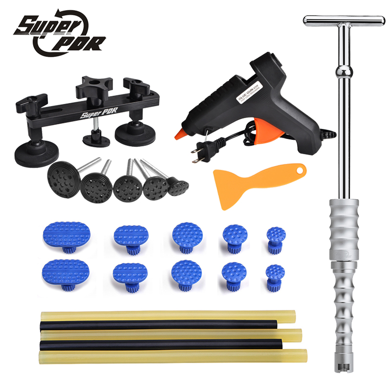 Super PDR Tools Paintless dent removal tool set slide hammer pulling bridge set glue gun glue sticks set car repair hand tools spot welding sheet metal tools spotter tools with slide hammer 393pieces ss 393