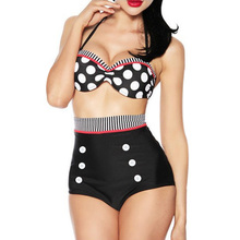 2016 Women Swimsuit Retro High Waist Polka Dots Bikini Set Plus Size Swimwear Summer Beach Bathing Suit