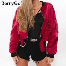 BerryGo Casual elastic belt winter bomber jacket Women fashi