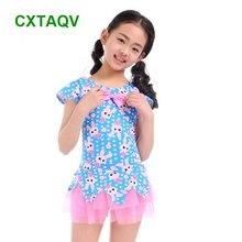 Корейская версия, милые цельные купальники с принтом кролика для маленьких девочек, плавание, дрейфующий, горячая весна, милый купальник