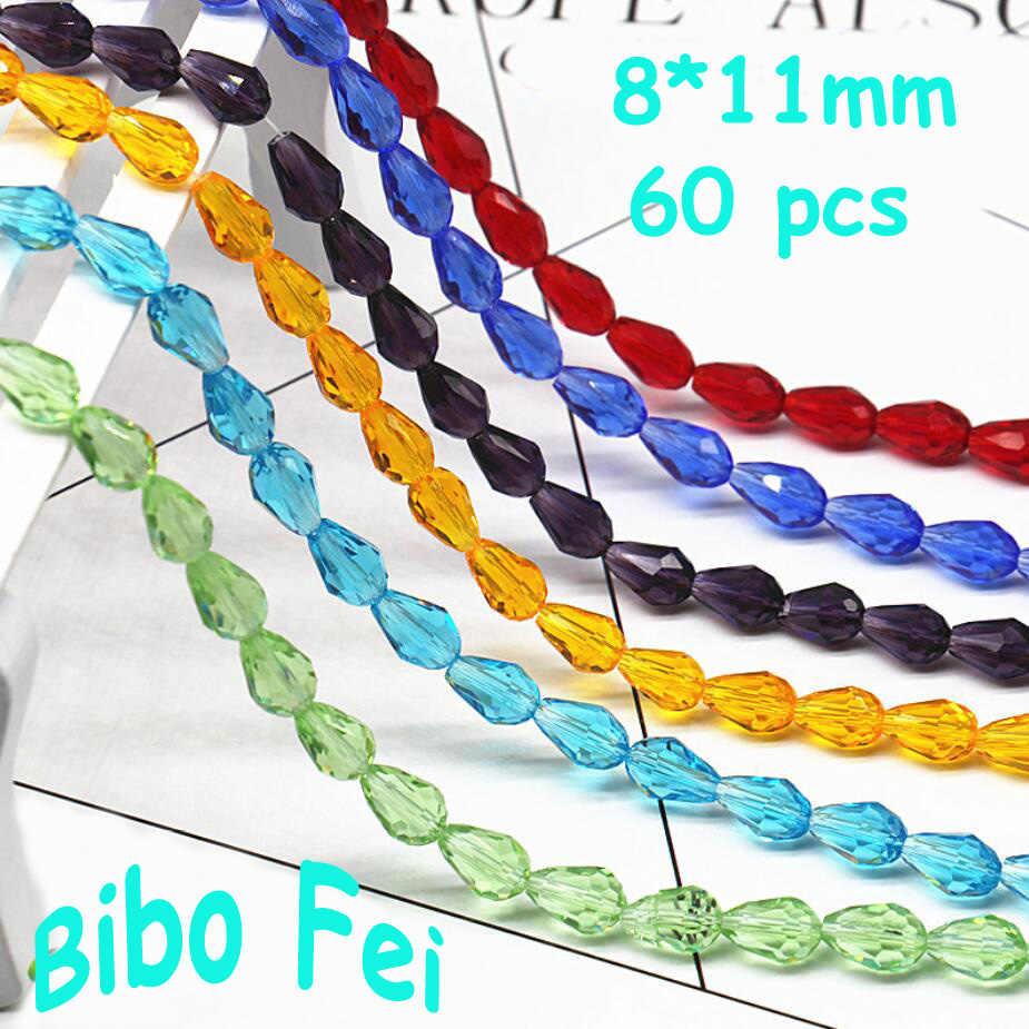 Gratis verzending multi kleur 8*11mm 60 PCS Tsjechische kristal kralen, Traan Kristal, hanger Kralen, armband ketting Sieraden Maken