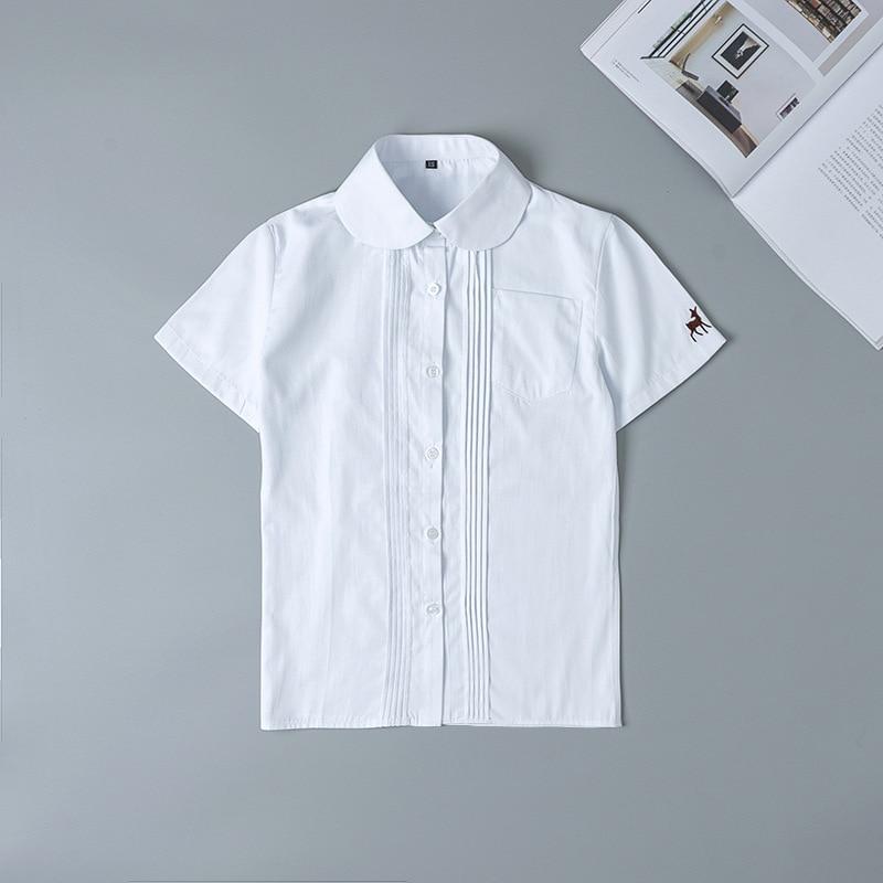 Japanese School Uniform Girl Short Sleeve Embroidery Shirt Round Neck Jk Japanese School Uniform Cotton White Shirt Fawn Pattern