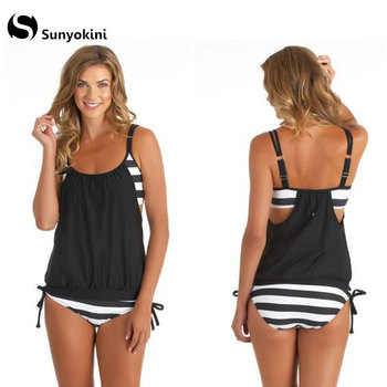 Tankini Swimwear Women Plus Size Monokini Swimsuit Two Pieces Bathing Suit Ladies Summer Big Size Stripes Beachwear 3XL Female