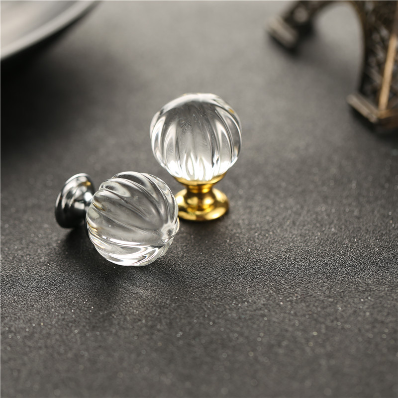 2017 30mm10PCS Furniture handle Pumpkin Crystal Ball Glass Alloy Door Drawer Cabinet Wardrobe Pull Handle Small Knobs YZ-2012 css clear crystal glass cabinet drawer door knobs handles 30mm