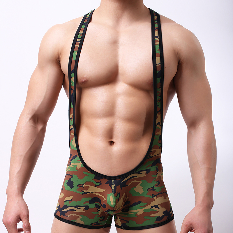 Man Underwear/New Arrival 2018 Brand Male Polyester Camouflage Suspender Long Boxers Shorts/Gay Military Panties