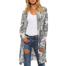 2019 Autumn Camouflage Coat Holiday Casual  Ladies Tops Long Open Stitch Women Outwear High Quality