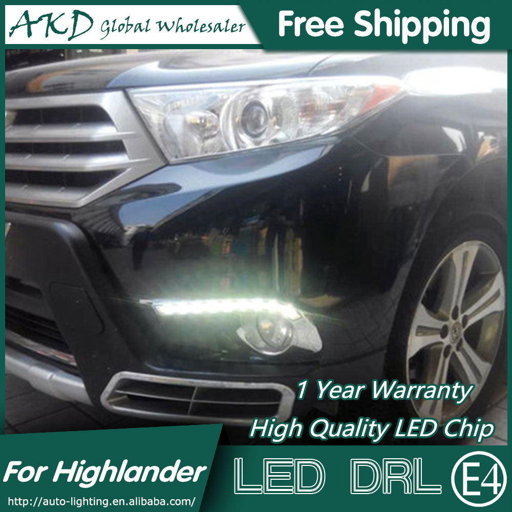 AKD Car Styling for Toyota Highlander LED DRL 2012-2013 Chrome Cover LED Daytime Running Light Fog Light Parking Accessories car styling highlander daytime light 2012 2014 free ship led chrome 2pcs set highlander fog light car covers highlander