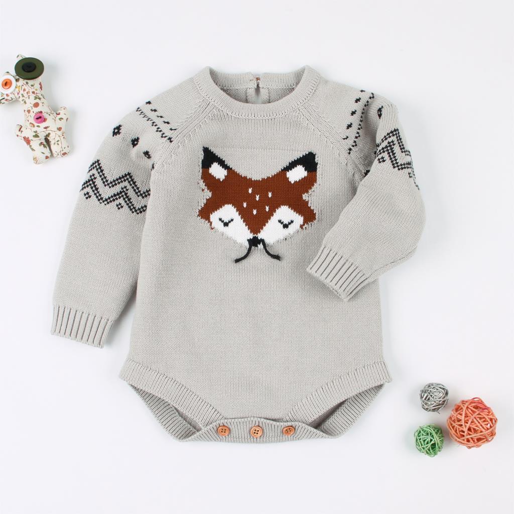 купить Cartoon Fox Baby Bodysuit Autumn Long Sleeve Newborn Girl Onesie Long Sleeve Knit Toddler Boys Coveralls Children Winter Costume онлайн