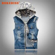 New Men's Hooded Camouflage Denim Vest Men Camo Jean Brand Clothing Male Jeans Waistcoat Man Sleeveless Jackets M-2XL G269