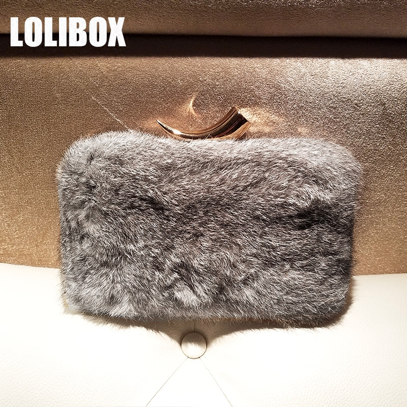 LOLIBOX Women Evening Clutch Bags Metal Ivory Rabbit Fur Warm Day Clutches Purses Small Ladies Party Hand Bag Messenger Bags