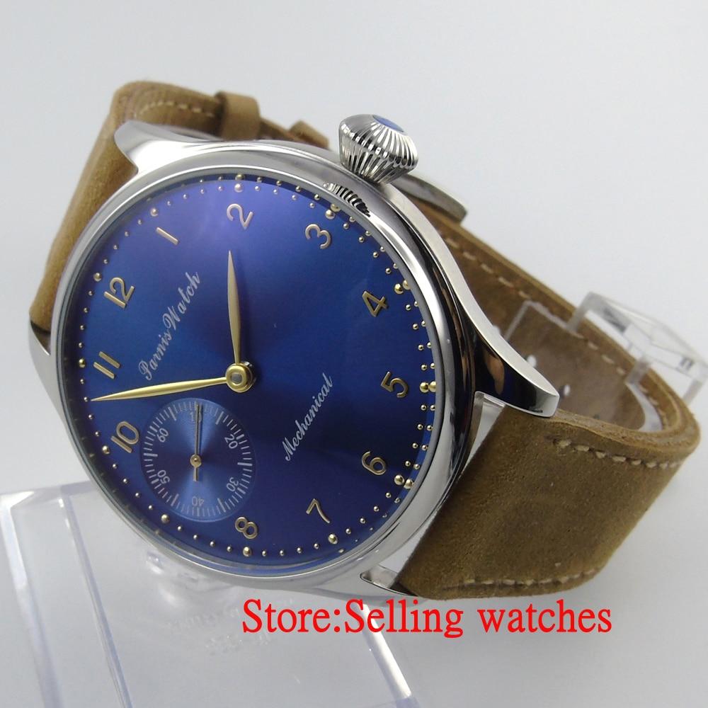 лучшая цена Parnis 44mm blue and big Mechanical hand winding 6497 Men's Watch