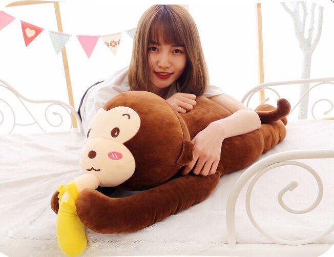 Grand 80 cm mignon singe brun en peluche jouet sujet singe très doux poupée jeter oreiller jouet cadeau de noël w2058