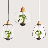 Modern Minimalist Creative Design Iron Wooden Garden Pendent Light Diy Plants Entrance Bar Bedside Restaurant Chandelier