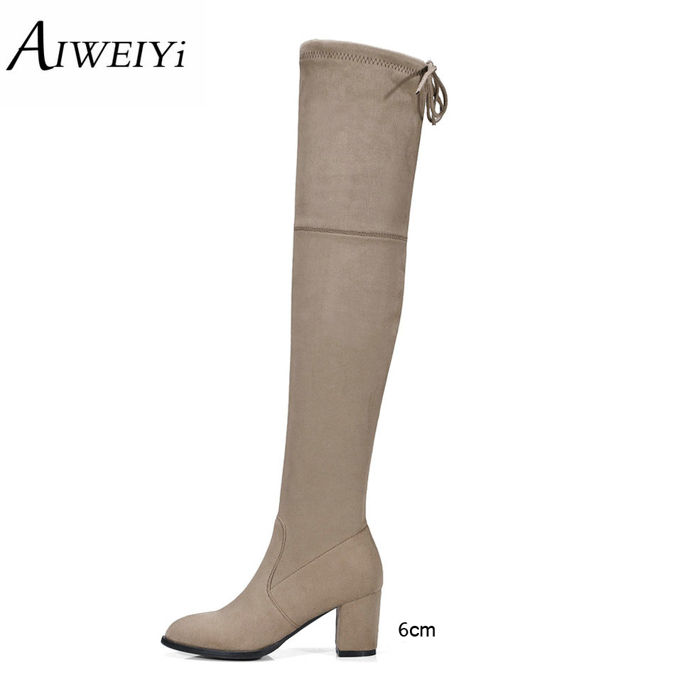 где купить AIWEIYi Over The Knee Boots For Women Square High Heel Platform Thigh High Boots Spring Autumn Casual Shoes Woman Size 34-43 дешево