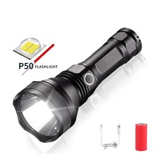 20000 Lumens Waterproof XHP50 LED Tactical Flashlight Torch USB Chargeable Lantern With 26650 Battery for Outdoors/Indoor