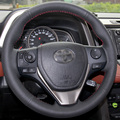 Black Artificial Leather DIY Hand-stitched Steering Wheel Cover for Toyota RAV4 2013 2014 Toyota Corolla Car
