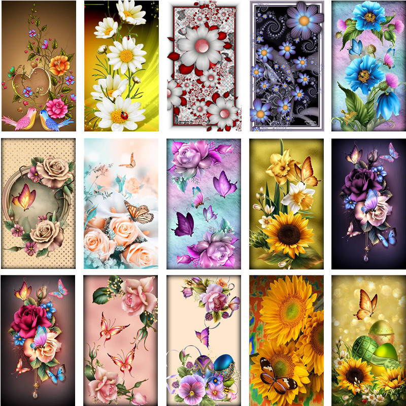 5D DIY Full Diamond Painting Flower Butterfly Cross Stitch Diamond Embroidery Flower Mosaic Picture Home Decoration