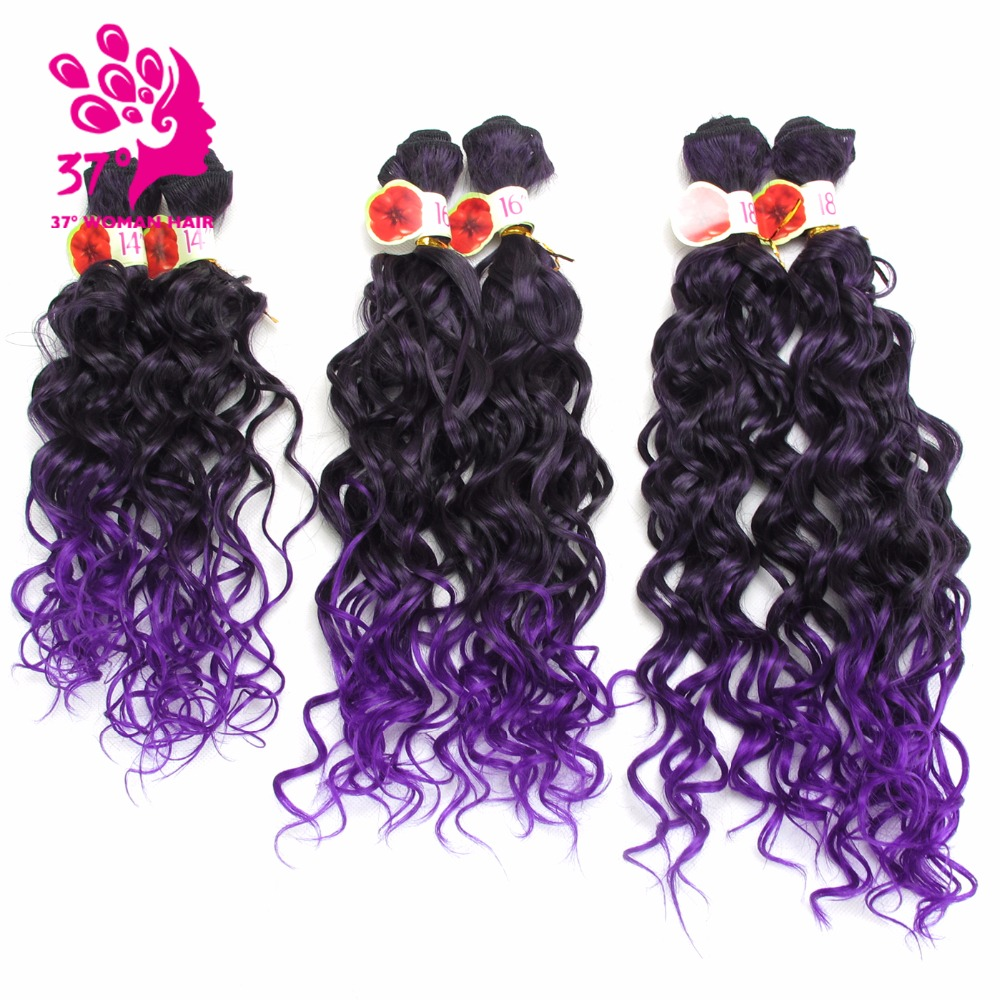 "6pcs/lot Kinky Curly Synthetic Weaving 14"" 16"" 18"" Ombre Purple Color Hair Bundles 200g/pack"