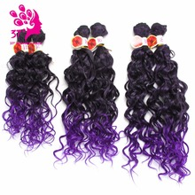 6pcs/lot Kinky Curly Synthetic Weaving 14 16 18 Ombre Purple Color Hair Bundles 200g/pack
