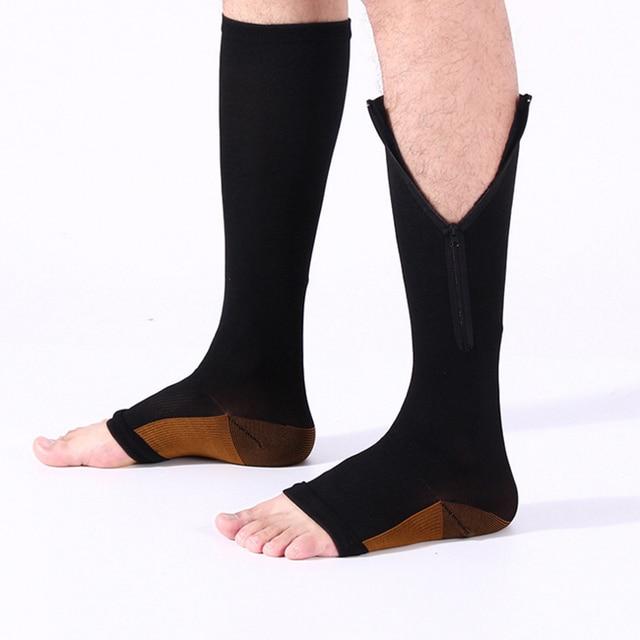 44f403a8a87 2018 NEW 2 Pair Zipper Sox Compression Socks Zipper Leg Support Knee High  Stockings Open Toe Sock Thin Leg Burn Fat Sock