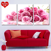 Pink Rose Painting By Numbers Three Picture Hand Painted DIY Oil Canvas Decoracion Wall Decor Pictures