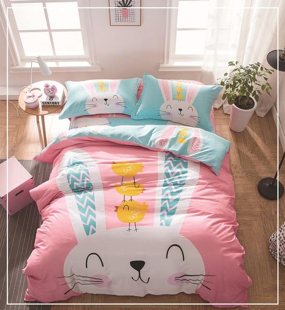 bande dessinee mignon lapin 4 pcs ensembles de literie lit ensemble literie enfants