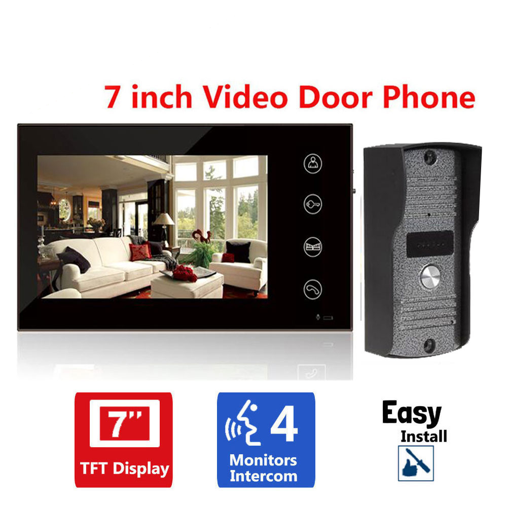 Home Security 7 inch TFT LCD Monitor Video Door phone Intercom System With Night Vision Outdoor Camera 7inch video door phone intercom system for 10apartment tft lcd screen 10 flat indoor monitor night vision cmos outdoor camera