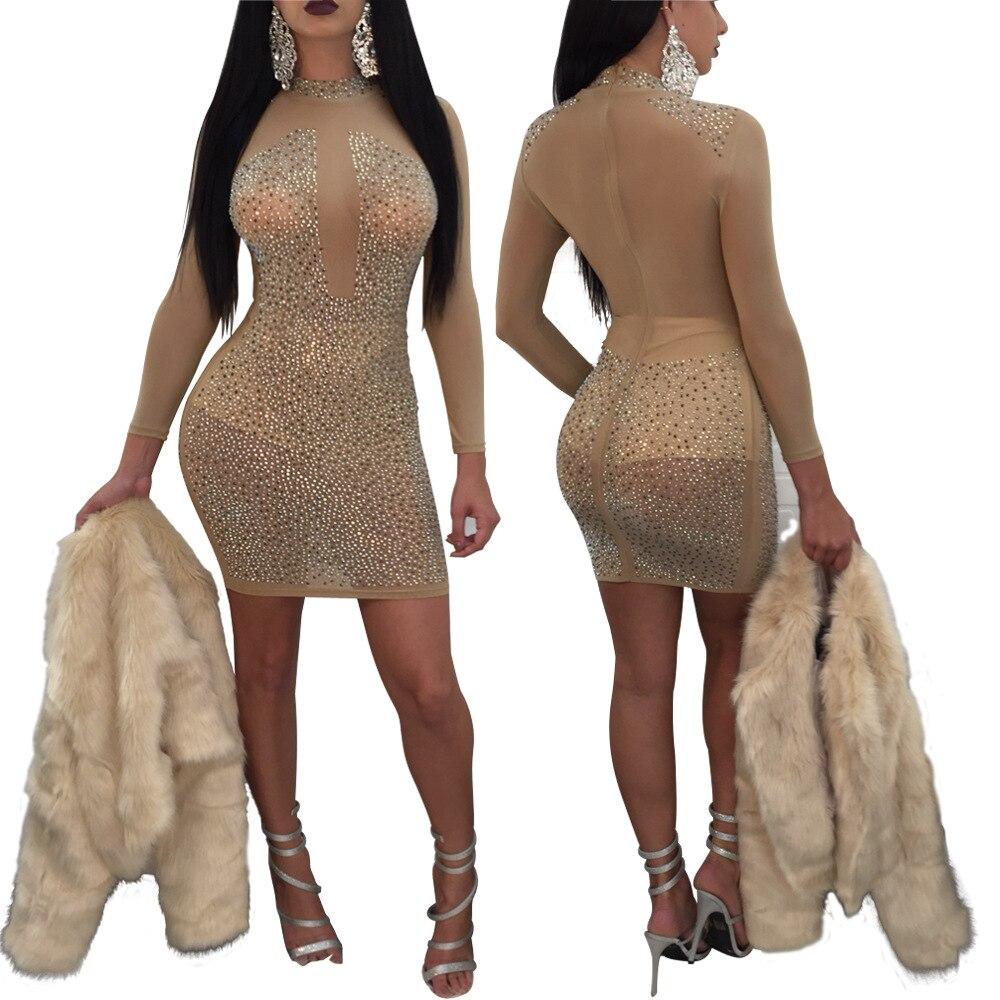 Noir diamants maille voir à travers la robe femmes col rond à manches longues Sexy robe 2018 parti moulante robe
