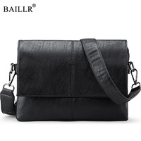 BAILLR Brand Men Bags Male Shoulder Crossbody Bags Messenger Small Flap Casual Handbags Men Pu Leather