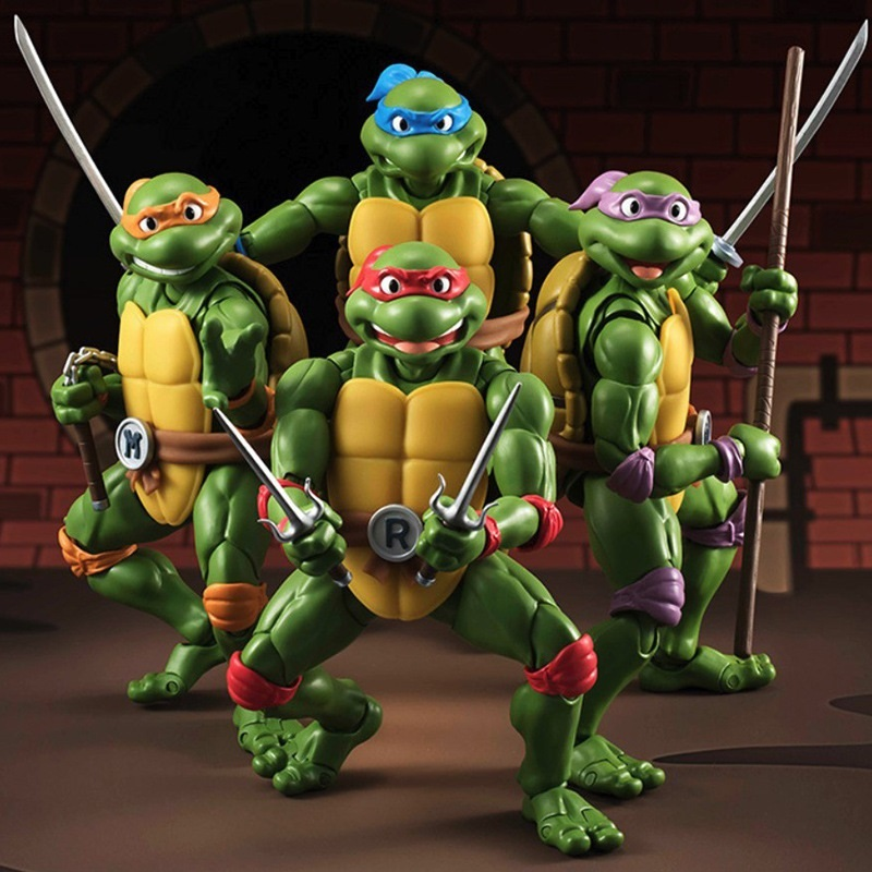 Children's gift High quality color box 4 pieces/set Turtles toy the joints can mover freely Ninja doll
