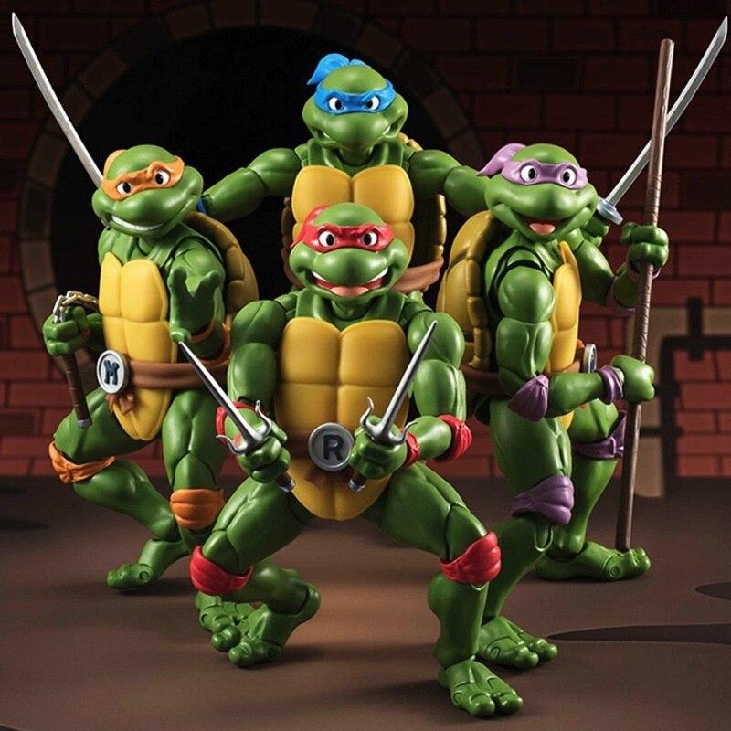 Prezent dla dzieci wysokiej jakości kolor box 4 sztuk/zestaw żółwie zabawki stawów może poruszać się swobodnie Ninja lalki w Prezenty imprezowe od Dom i ogród na  Grupa 1