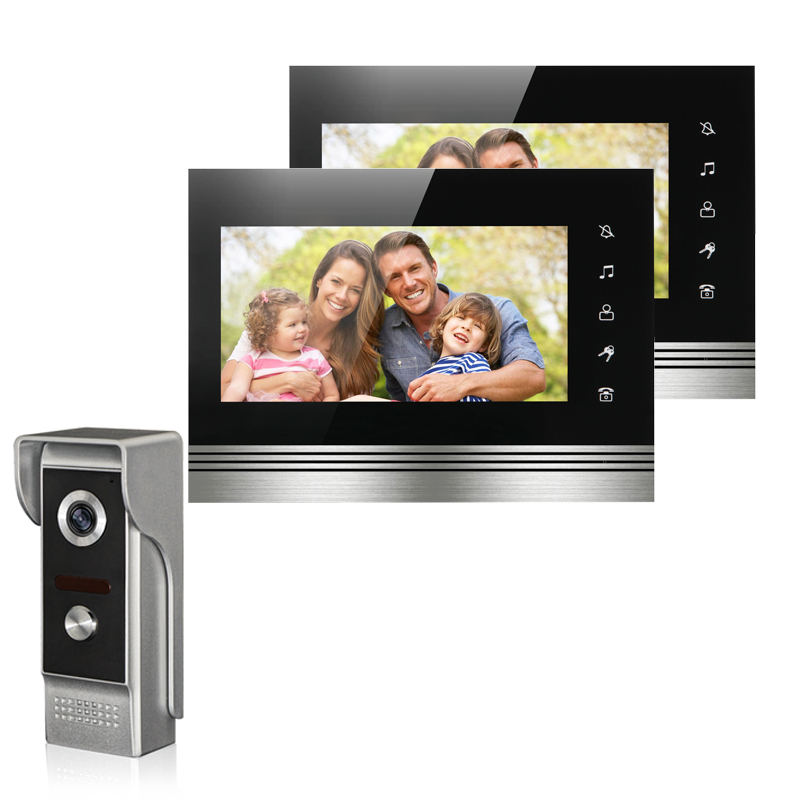 New wired 7 inch TFT-LCD video intercom door phone system 2 monitor+1 IR outdoor camera video doorbell for home Free shipping brand new wired 7 inch color video intercom door phone set system 2 monitor 1 waterproof outdoor camera in stock free shipping