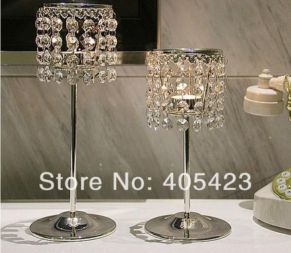 2pcsset Big Small Romantic Glass Crystal Candle Holder For