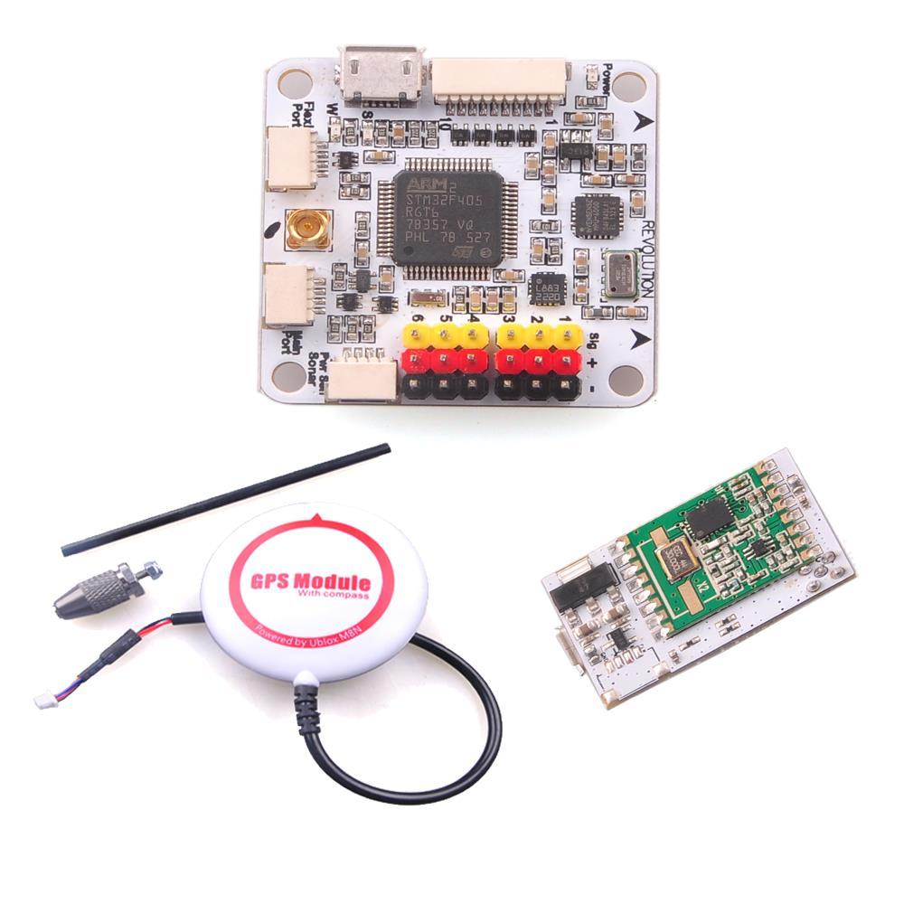 F16084-A OpenPiolot CC3D Revolution Flight Controller + OPLINK MINI Transceiver TX RX + M8N GPS Compass DIY FPV Drone f16084 a openpiolot cc3d revolution flight controller oplink mini transceiver tx rx m8n gps compass diy fpv drone