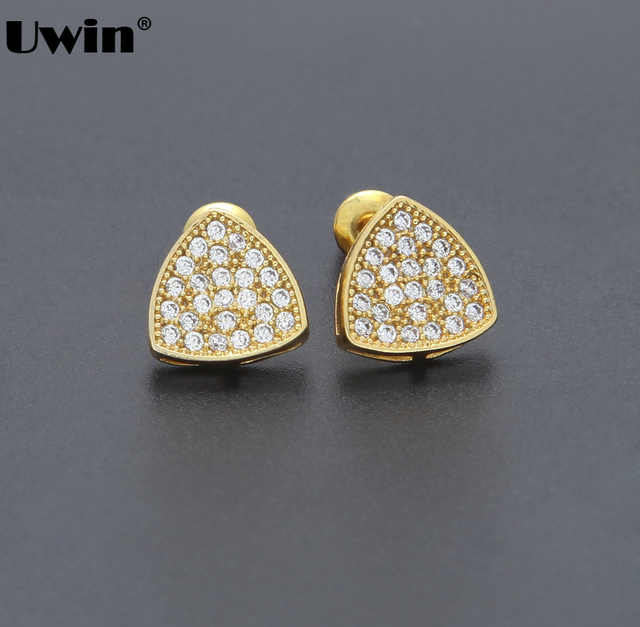 Triangle Full Cubic Zircon Stud Earrings For Woman Men Hiphop Jewelry Copper With White Gold Color