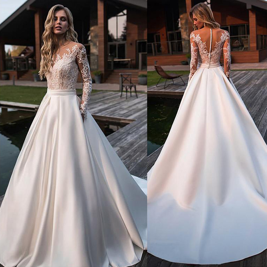 Brilliant Matte Satin Jewel Neckline Bridal Gowns A-line Long Sleeves Wedding Dresses With Lace Appliques & Belt & Pockets