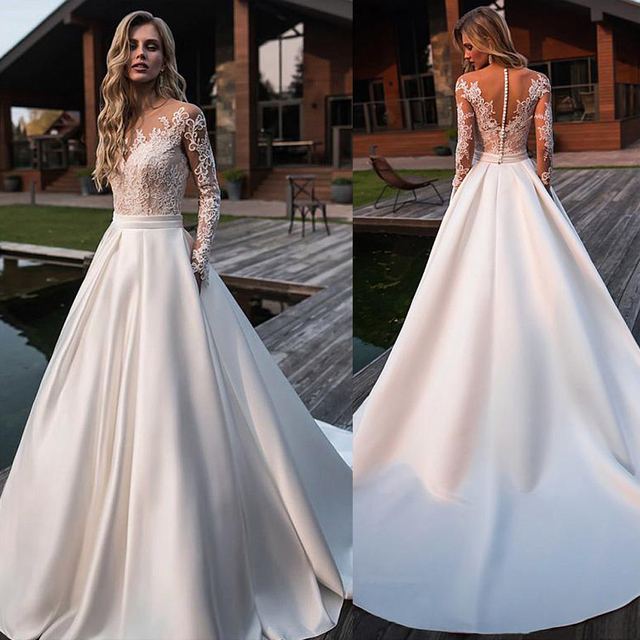Brilliant Matte Satin Jewel Neckline Bridal Gowns A line Long Sleeves Wedding Dresses With Lace Appliques & Belt & Pockets