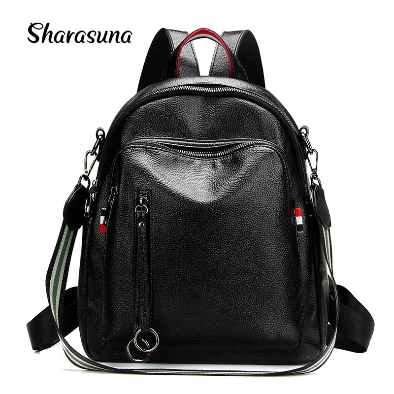 2018 Designer Brand New Preppy Style Leather School Backpack Bag for College Simple Design Women Casual Daypacks Mochila Female mochilas designer genuine leather bag mochila ciclismo preppy style multifunction men canvas bag fb1125