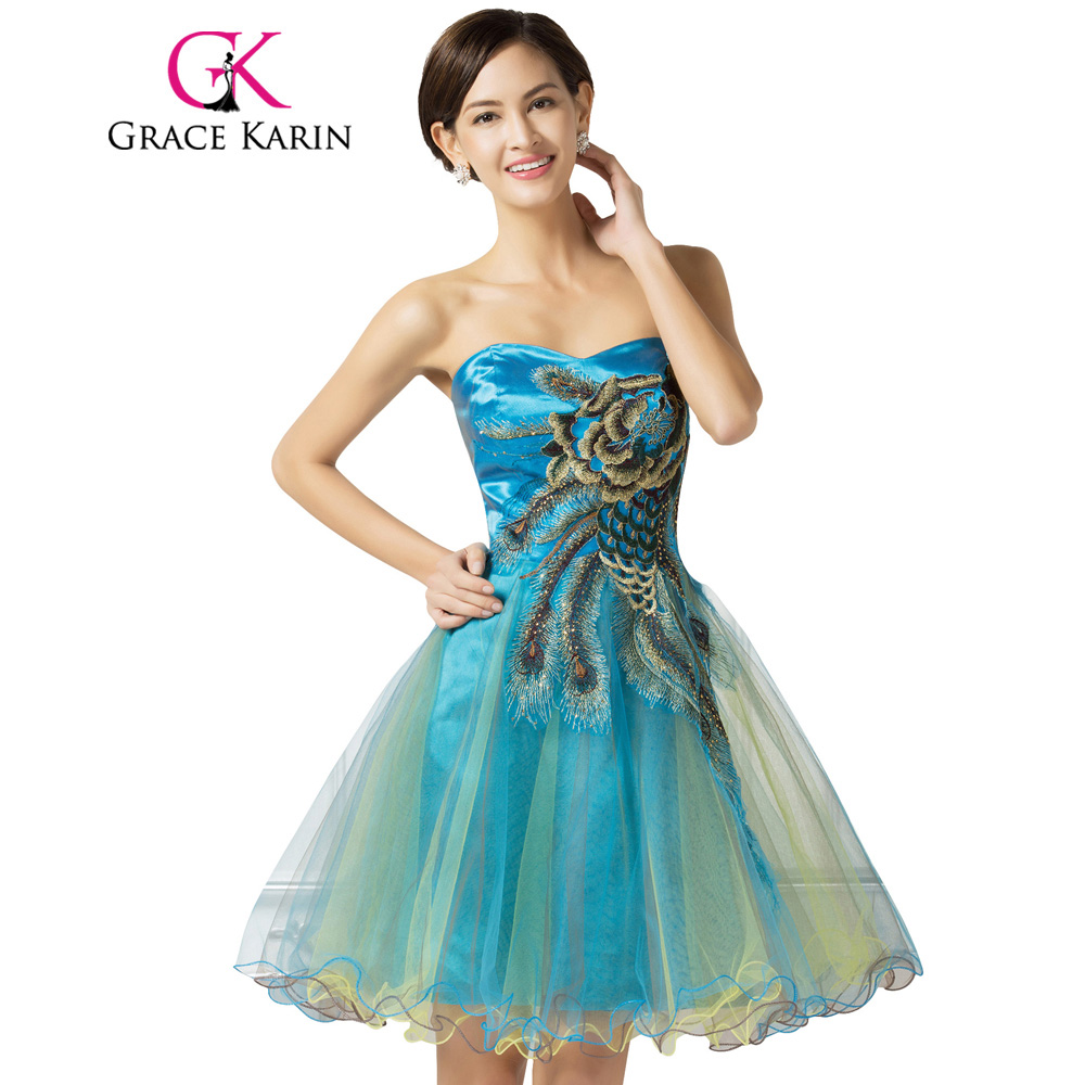 Grace Karin Short Prom Dress Peacock Cheap Beading Embroidery Tulle ...