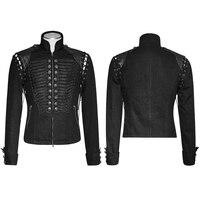 Стимпанк Мужская Черная Прочная Джинсовая ткань Съемная рукава Короткая куртка на молнии воротник карман Униформа короткая манжета вальгу