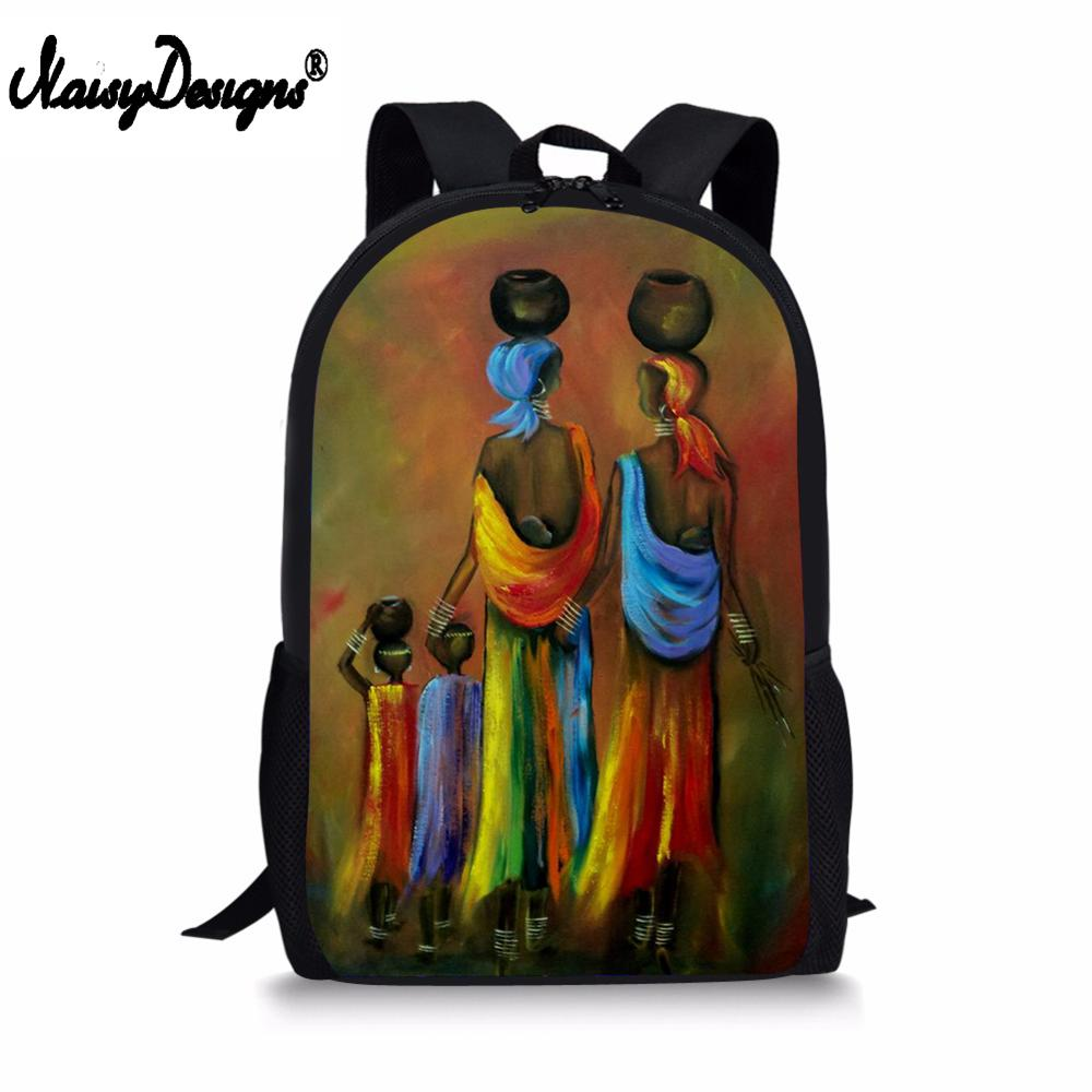 NOISYDESIGNS DIY Mochila School Bags Abstract African Painting Teenager Backpacks Kids Boys Girls Learning Essential Organizer